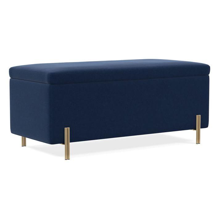 "Mod Storage Bench 42"", Performance Velvet, Ink Blue"