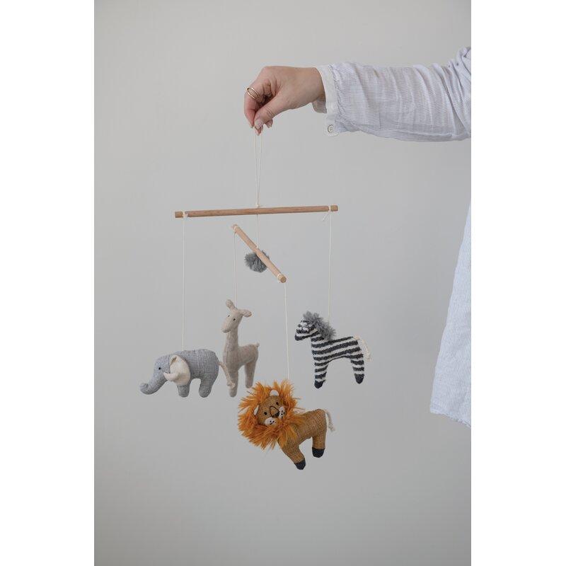 Wood and Fabric Safari Animal Mobile