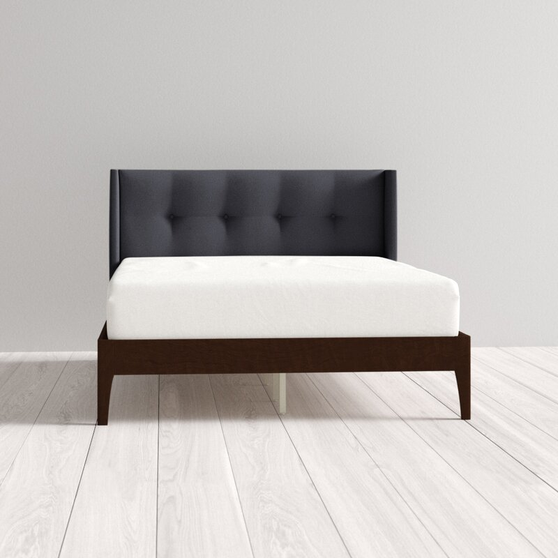Meryl Queen Upholstered Platform Bed, Charcoal Gray