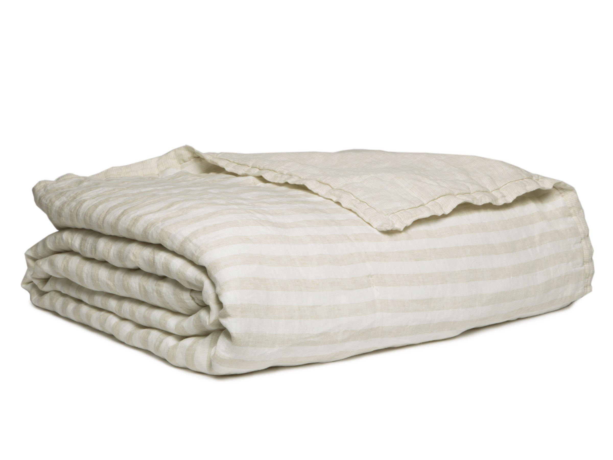 Full/Queen Linen Striped Quilt in Natural | Parachute