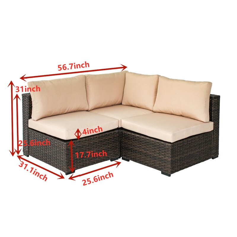 Holliston 6 Piece Rattan Sectional Seating Group Set with Cushions