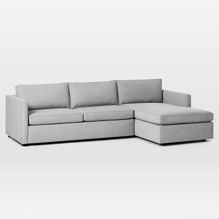 """Harris Sectional Set 05: Left Arm 65"""" Sofa, Right Arm Storage Chaise, Poly, Chenille Tweed, Irongate"""
