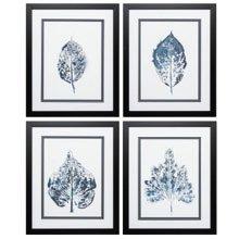 'Beginning In Blue' 4 Piece Framed Graphic Art Print Set