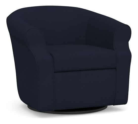 SoMa Lyndon Upholstered Swivel Armchair, Polyester Wrapped Cushions, Twill Cadet Navy
