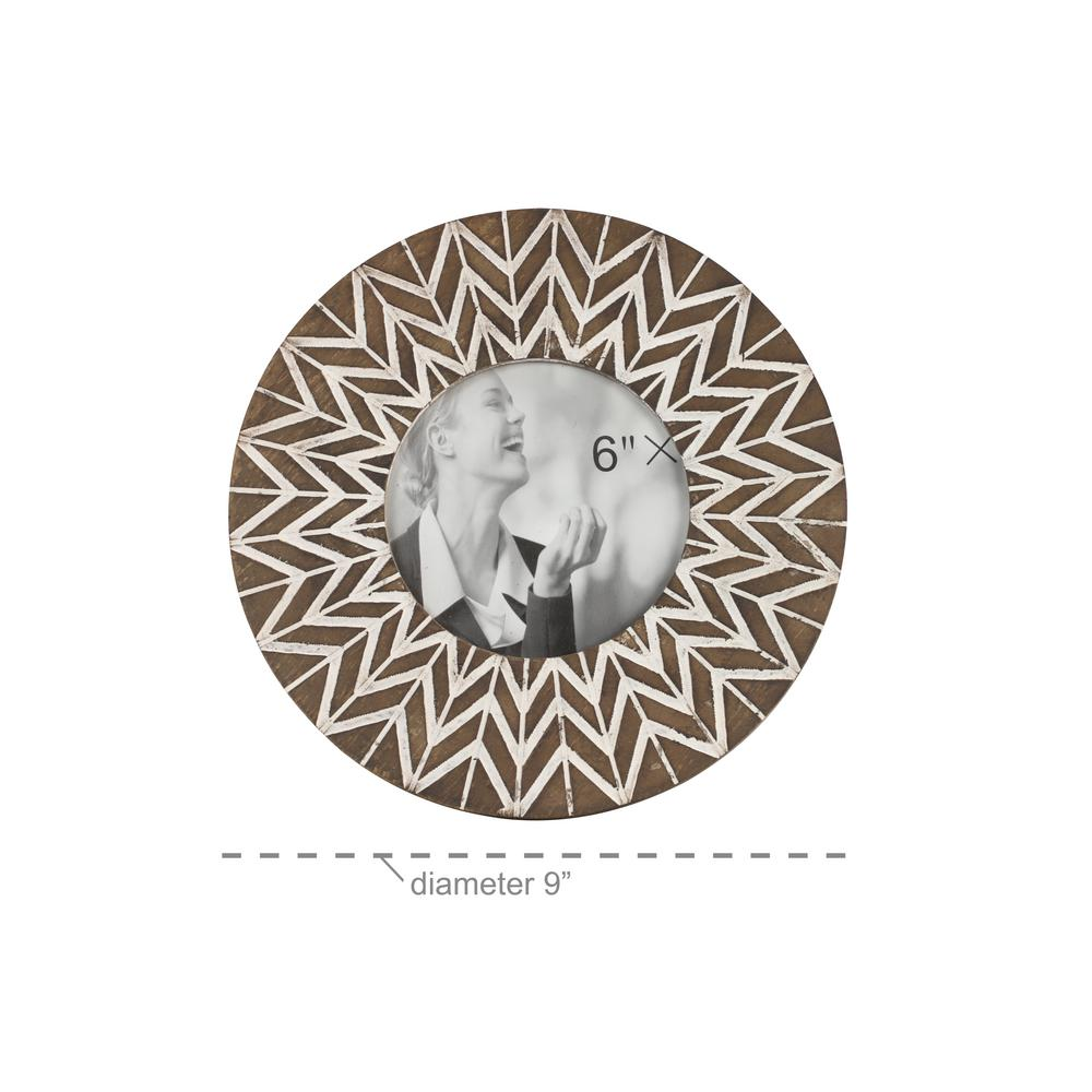 Litton Lane 5 in. x 5 in. Round White and Natural Carved Wood Picture Frame with Chevron Pattern