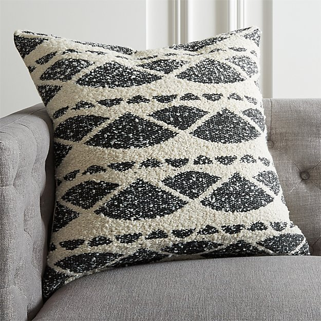 """23"""" HAZEL BLACK AND WHITE BOUCLE PILLOW WITH DOWN-ALTERNATIVE INSERT"""
