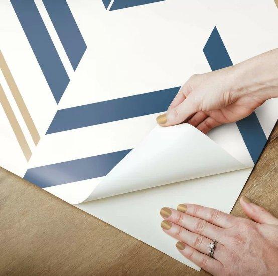 """Timm Chevron and Herringbone 16.5' L x 20.5"""" W Peel and Stick Wallpaper Roll- per roll"""