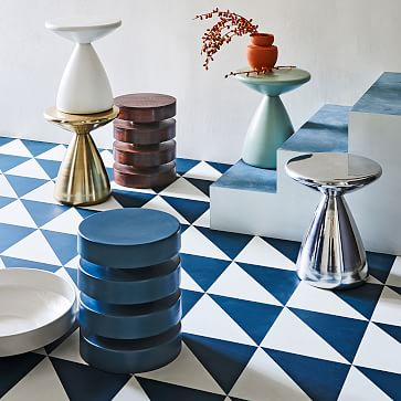 Floating Disks Side Table, Dark Walnut