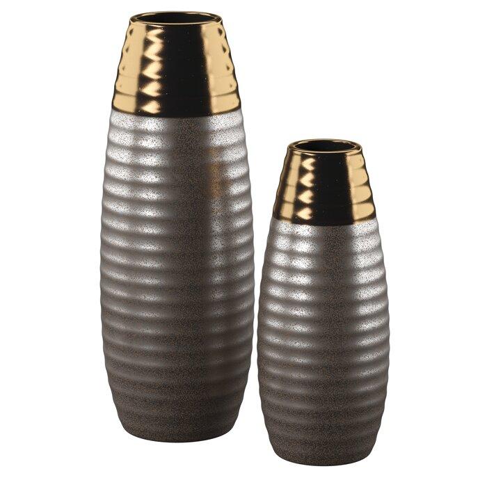 Ceramic Two-toned 2 Piece Floor Vase Set