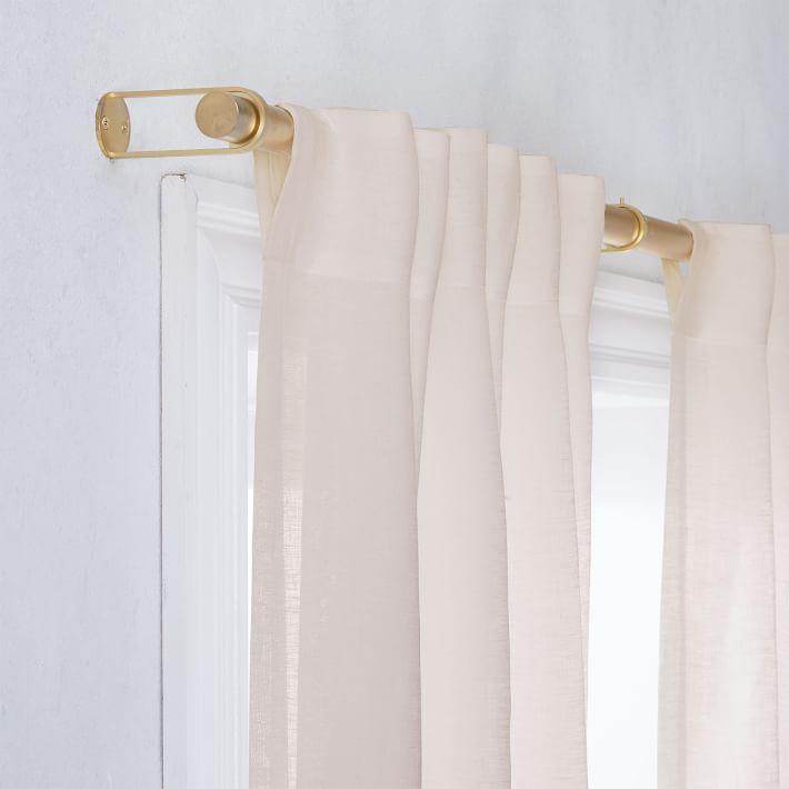 """Belgian Flax Linen Sheer Curtain, Dusty Blush, 48""""x96"""""""