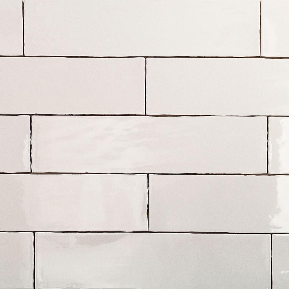 Splashback Tile Catalina White 3 in. x 12 in. x 8 mm Ceramic Wall Subway Tile