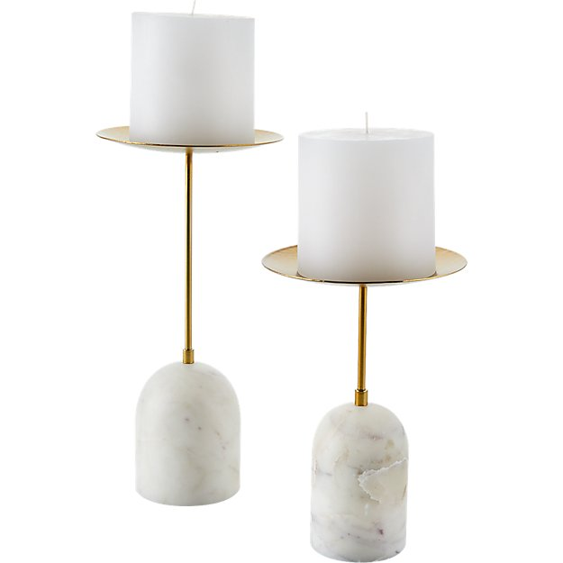 NUMA MARBLE AND BRASS PILLAR CANDLE STAND LARGE