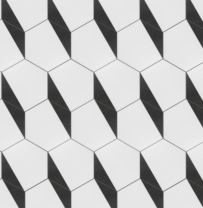 Merola Tile Peak Hex Nero Encaustic 8-5/8 in. x 9-7/8 in. Porcelain Floor and Wall Tile (11.19 sq. ft. / case), White And Black/Medium Sheen