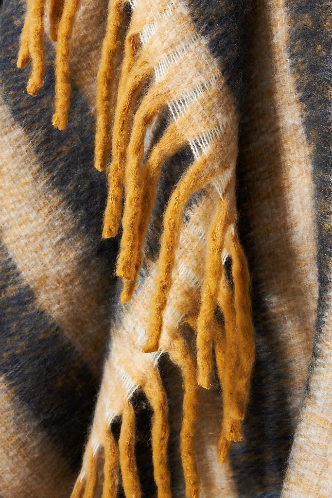 Rives Striped Throw Blanket By Anthropologie in Yellow
