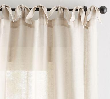 """Belgian Flax Linen Sheer Tie-Top Drape, 50 x 84"""", Flax"""