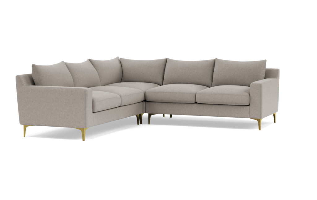 "Sloan Corner 4 Seat Sectional Sofa - Iron Performance Basketweave/ Brass Plated L Leg - 121"" - Upgraded Down Alternative Blend Cushions"