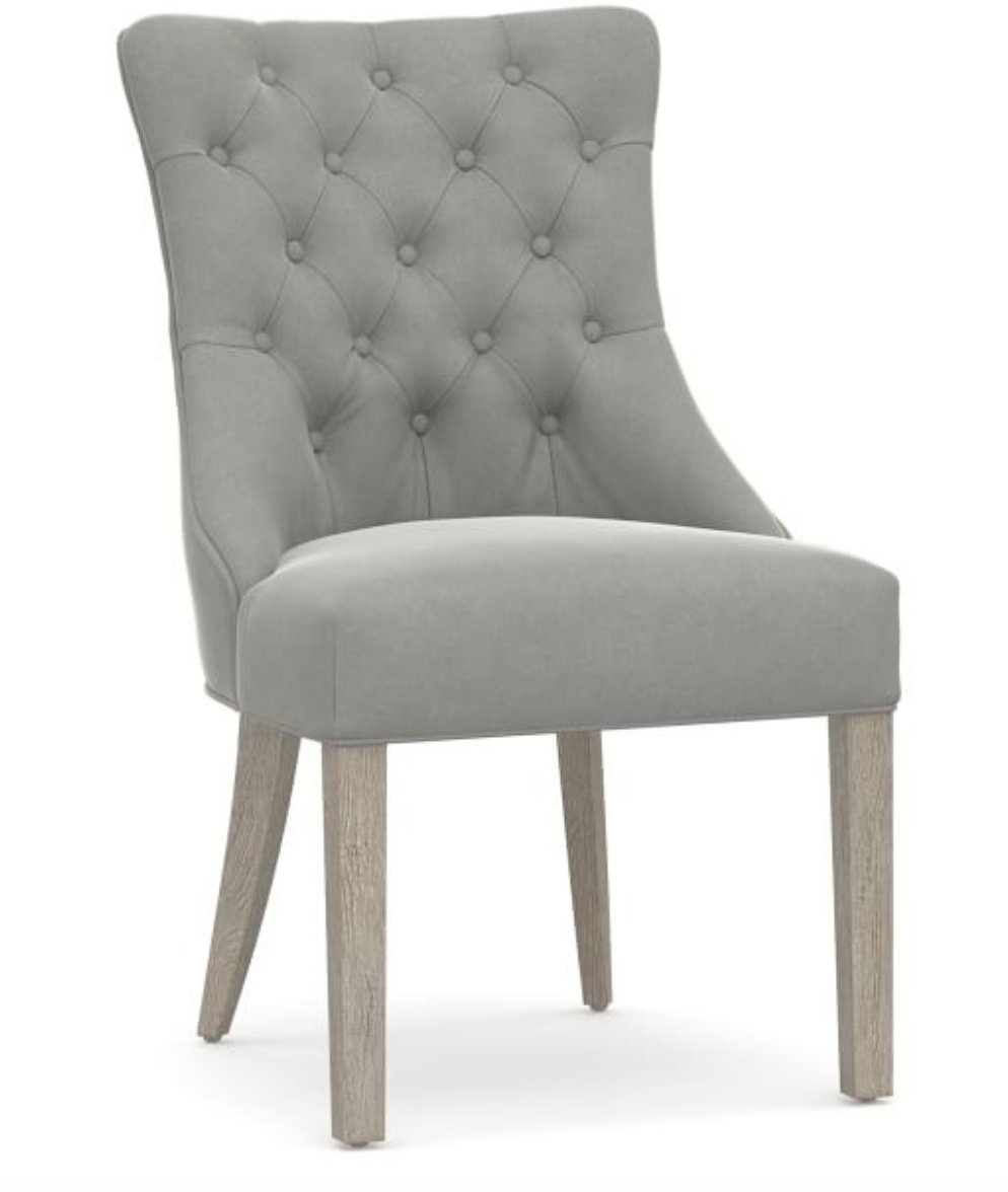 Hayes Upholstered Tufted Dining Side Chair, Gray Wash Frame, Performance Everydaysuede(TM) Metal Gray