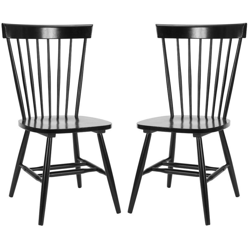 Spindle Solid Wood Windsor Back Side Chair (Set of 2)