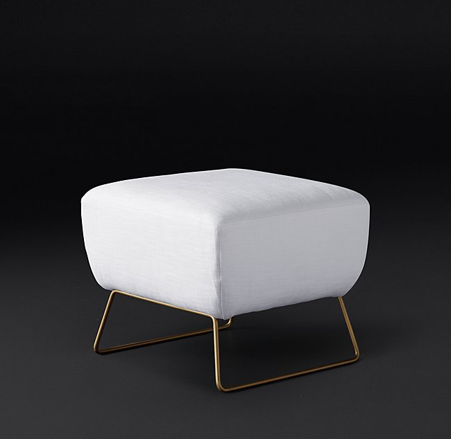 LIAM FABRIC OTTOMAN - Matte Brass Finish - Belgian Linen White Fabric