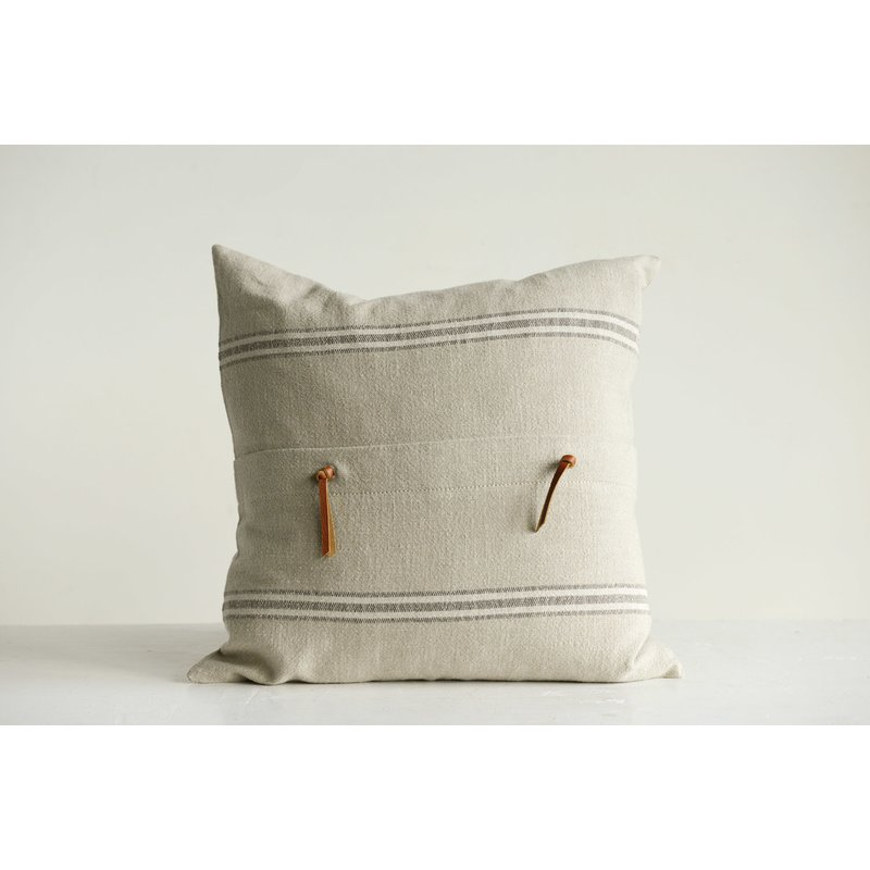 Bartlette Leather Trim Cotton Throw Pillow