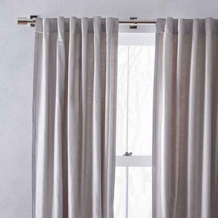 """Cotton Luster Velvet Curtain /  48""""x84"""" / Platinum, Unlined, Individual"""