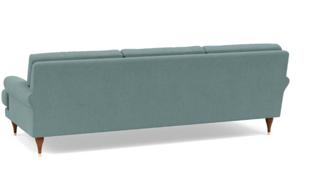 Maxwell Sofa with Blue Mist Fabric and Oiled Walnut with Brass Cap legs