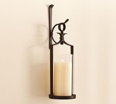 Artisanal Wall-Mounted Pillar Lantern, Iron - Set Of 2