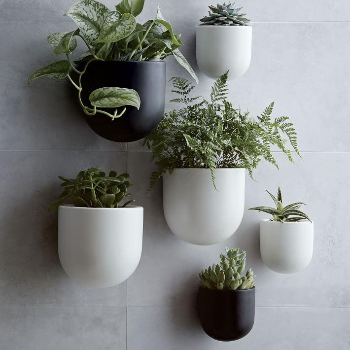 """Ceramic Wallscape Planter, White, 4"""""""