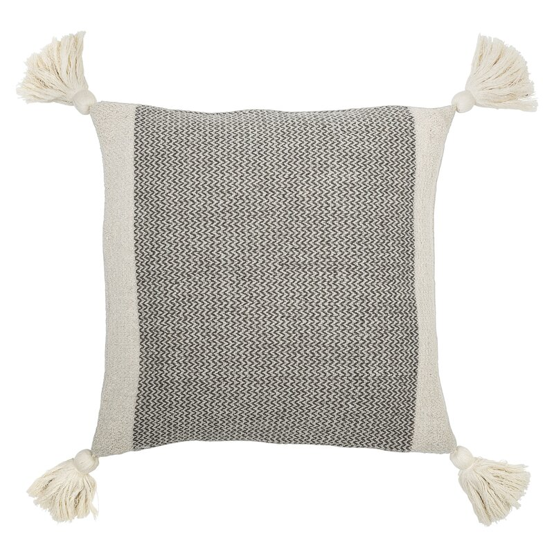 SQUARE Gray CREAM COTTON BLEND PILLOW WITH CORNER TASSELS