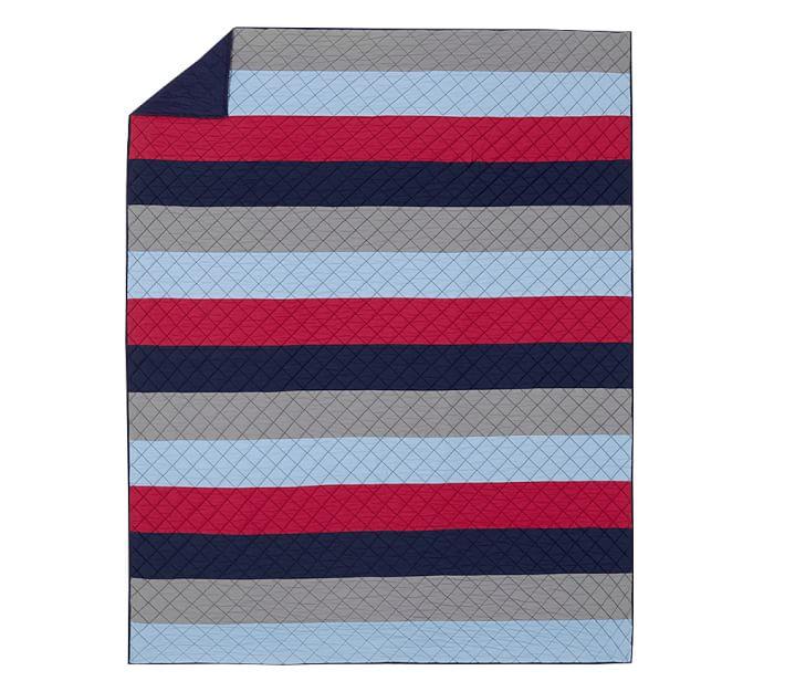 Block Stripe Quilt, Twin, Navy/Red