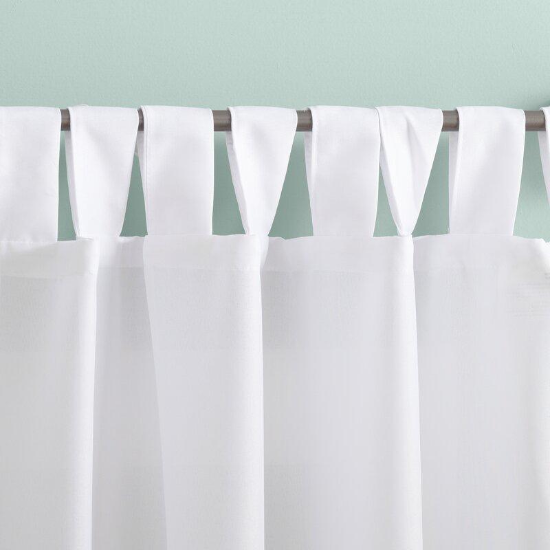 Wayfair Basics Solid Color Semi-Sheer Tab Top Single Curtain Panel