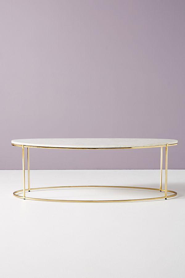 """Leavenworth Oval Marble Coffee Table 52"""""""
