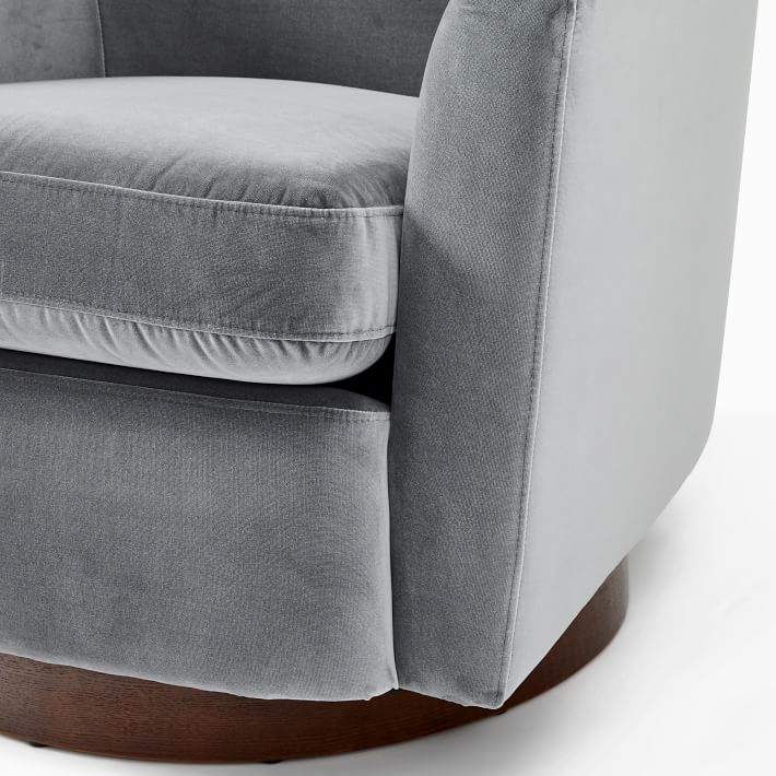 Haven Swivel Chair, Poly, Astor Velvet, Nickel, Dark Walnut