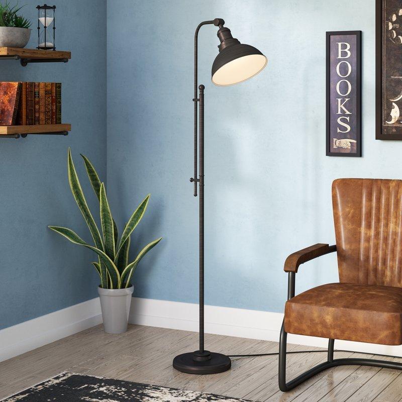 """Aged Dark Zinc Kaibab 65"""" Task Floor Lamp"""