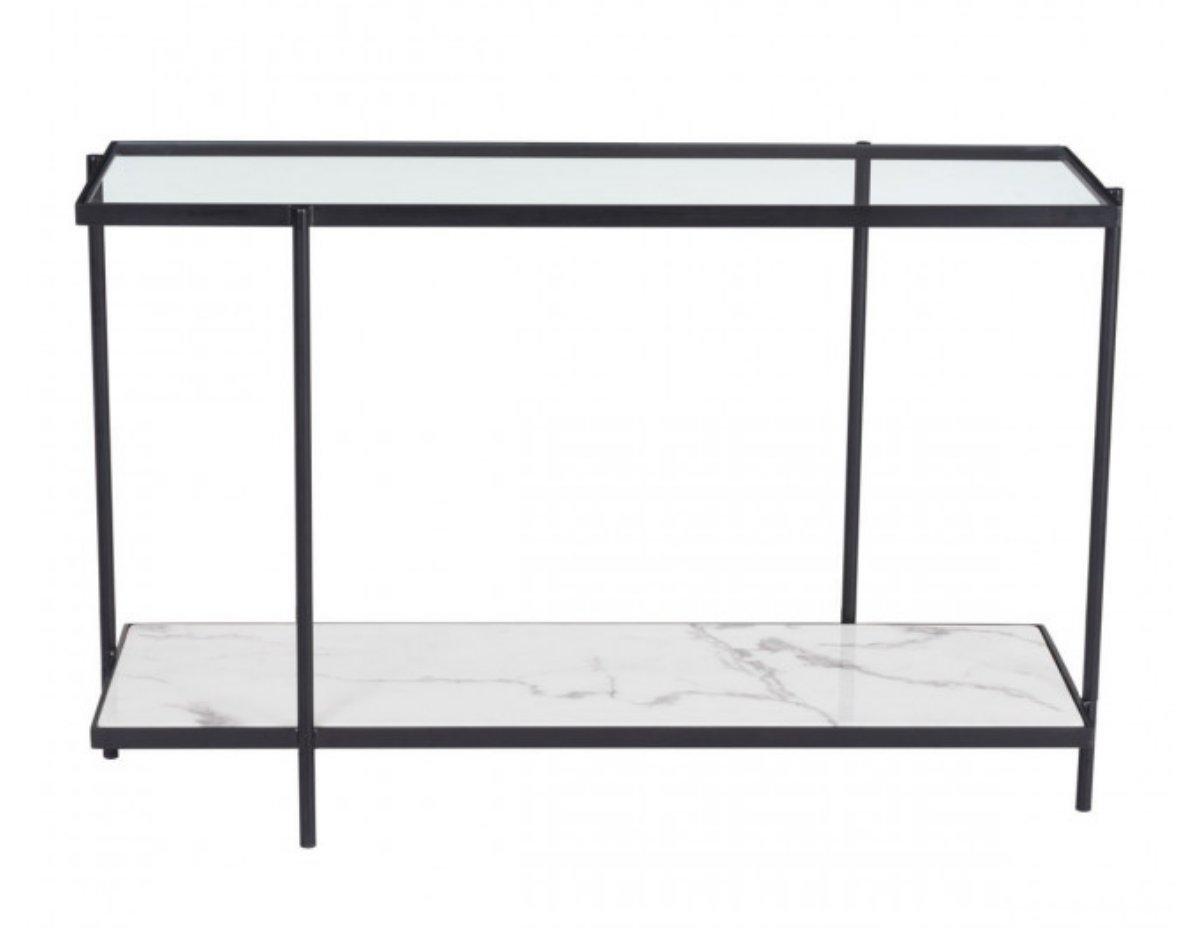 Winslett Console Table Clear & White & Matt Black