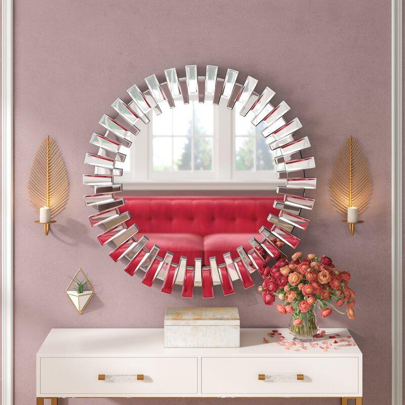 Deniece Sunburst Round Wall Mirror