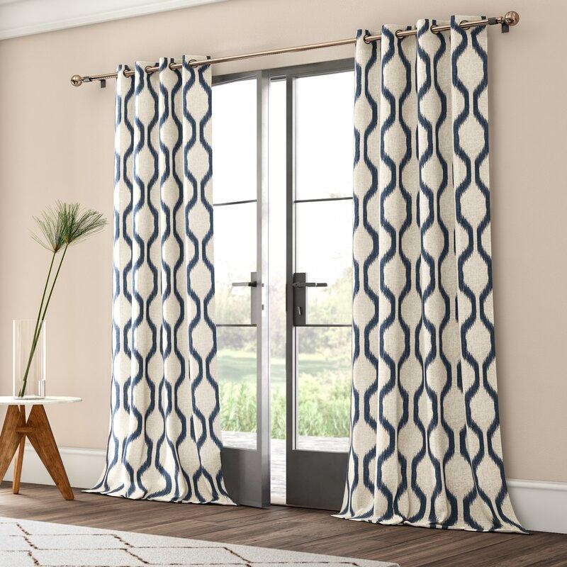 Valdovinos Geometric Room Darkening Grommet Single Curtain Panel