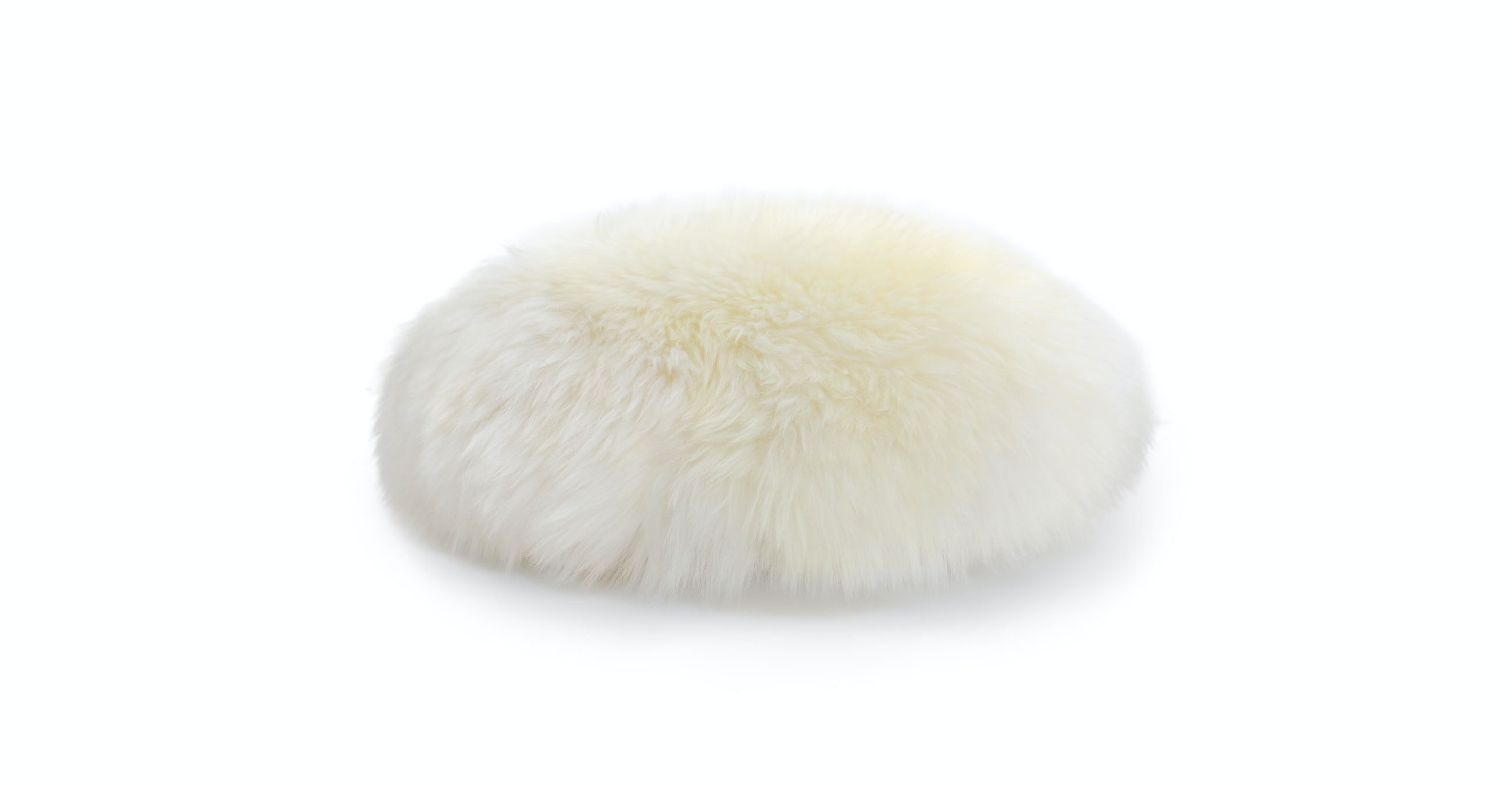 Lanna Ivory Round Sheepskin Pillow