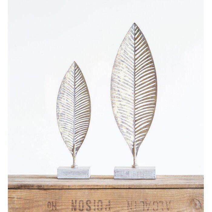 Jackson Heights Metal Leaf on Wood Base Sculpture - Small
