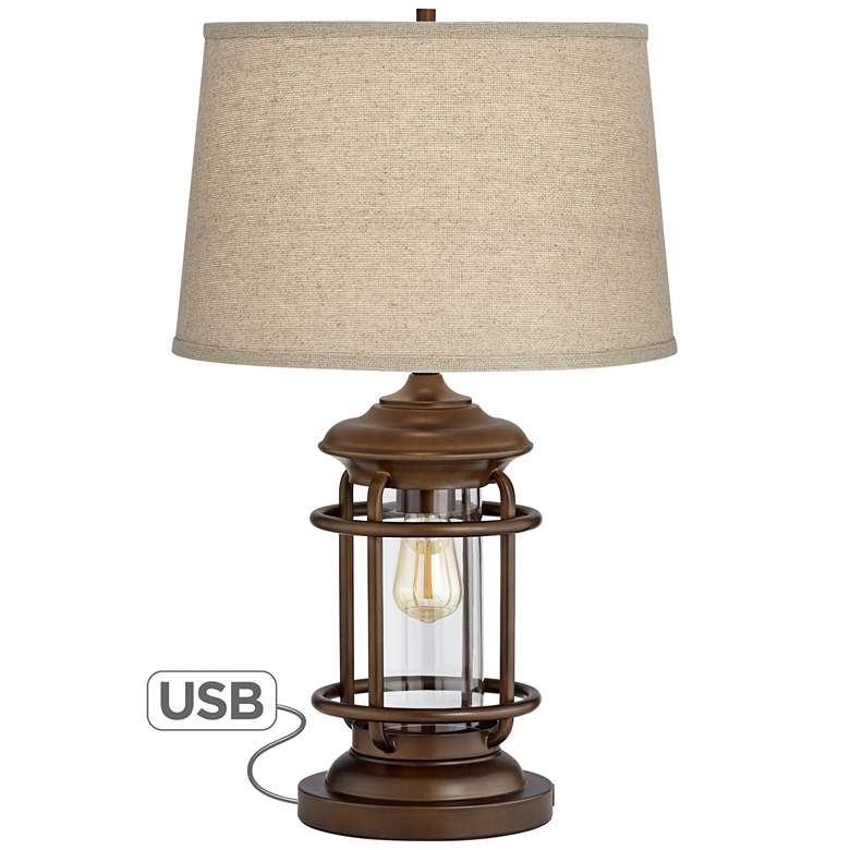 Andreas Industrial Night Light Table Lamp with USB Port - Style # 45P79