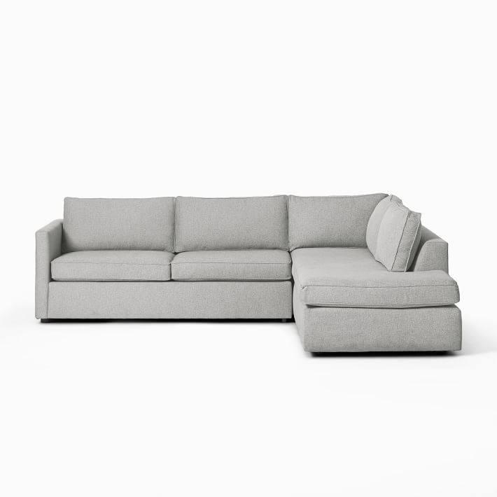 """Harris Sectional Set 11: Right Arm 75"""" Sofa, Left Arm Terminal Chaise, Poly, Chenille Tweed, Irongate,"""