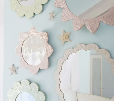 White Scalloped Capiz Mirror