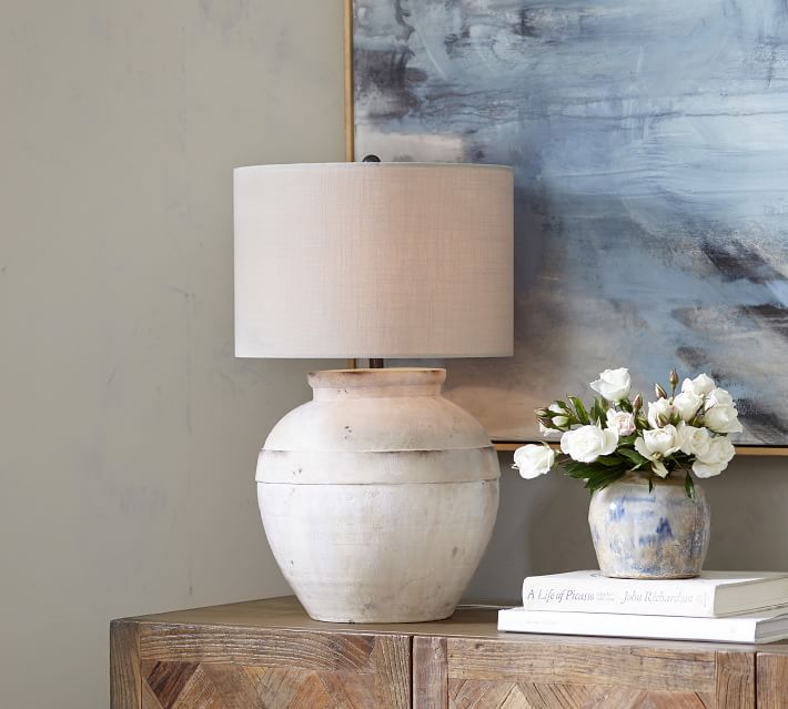 Faris Ceramic Table Lamp, white Base with Large Gallery Straight Sided Textured Shade, Sand