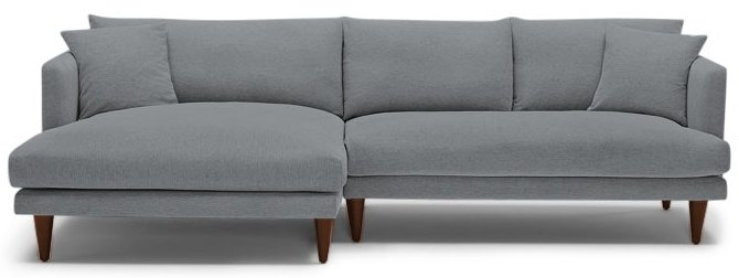 Gray Lewis Mid Century Modern Sectional - Synergy Pewter - Mocha - Left - Cone Legs