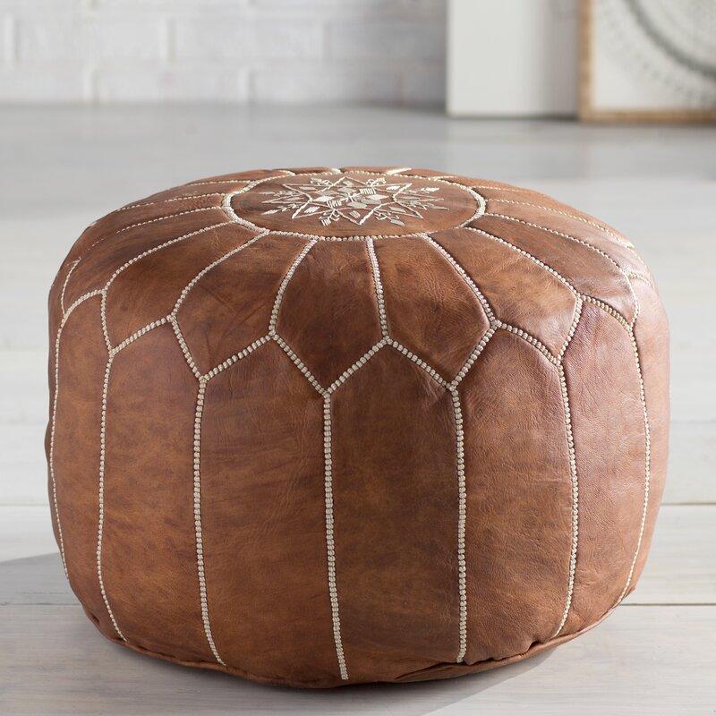 Cherise Genuine Leather Round Pouf - Tan