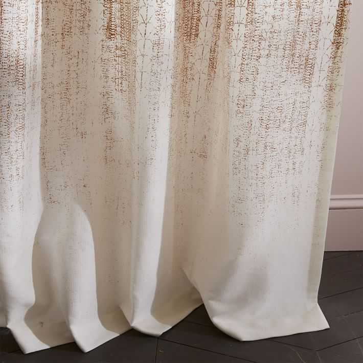 "Echo Print Curtain, Set of 2, Gold Dust, 48""x96"""