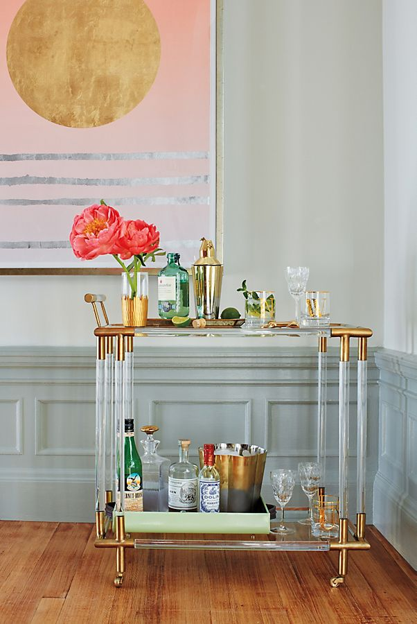 Oscarine Lucite Bar Cart