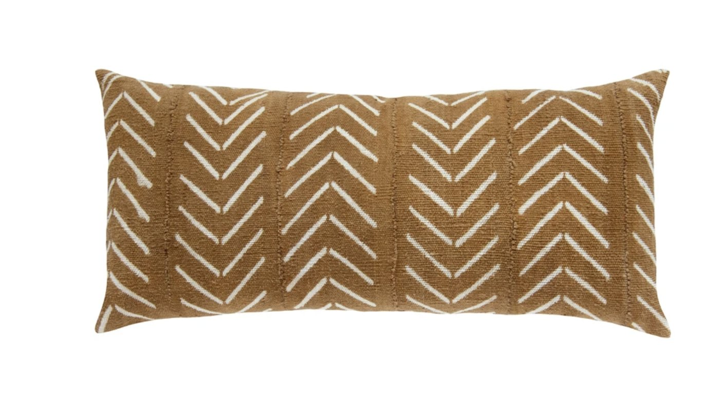 triangle mud cloth extra large lumbar pillow in amber MADE TO ORDER