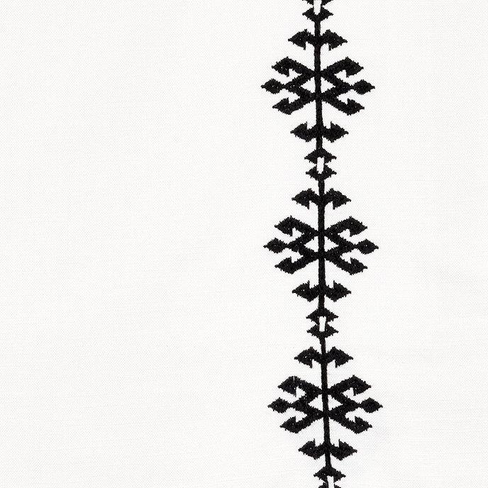 "Ballard Designs Aria Embroidered Drapery Panel Black 84"""