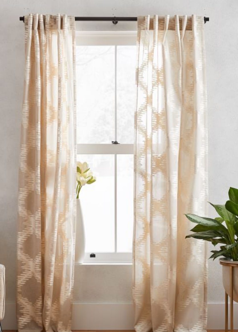 Semi-Sheer Trellis Clipped Jacquard Curtain - Belgian Flax/Ivory